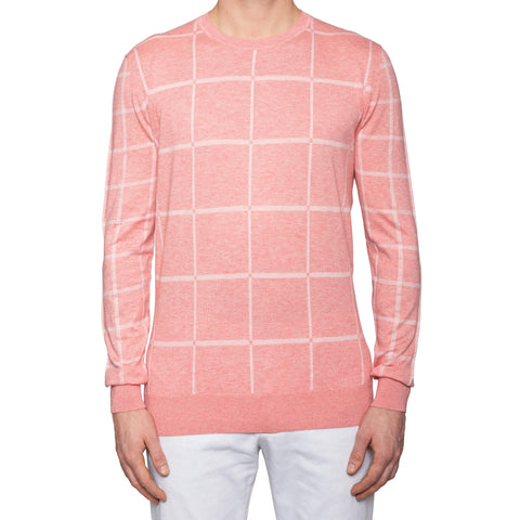KITON Napoli Pink Cotton-Cashmere Crewneck Sweater EU 54 NEW US XL