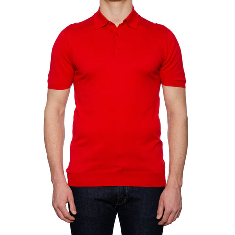 KITON Napoli Red Cotton Short Sleeve Polo Shirt EU 52 NEW US L