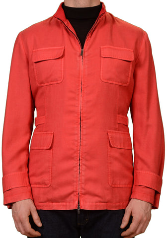 KITON Napoli Red Cashmere Silk Field Jacket with Removable Lining 50 NEW US 40