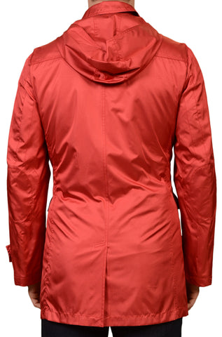 KITON Red Silk Hooded Duffle Jacket Coat w. Removable Cashmere Lining 50 NEW 40