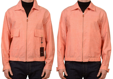 KITON Napoli Salmon Linen Cotton Reversible Light Summer Bomber Jacket NEW