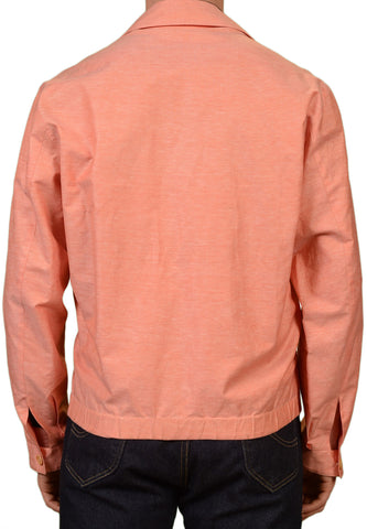 KITON Napoli Salmon Linen Cotton Reversible Light Summer Bomber Jacket 50 NEW M