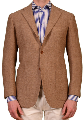 KITON Napoli Solid Brown Cashmere Wool Blazer Jacket US 38 NEW EU 48 R8 Slim Fit - SARTORIALE - 1