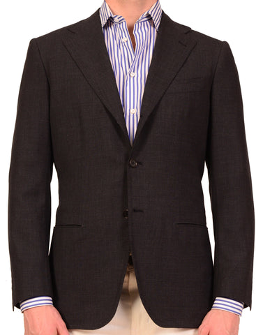 KITON Napoli Solid Charcoal Gray Wool Blazer Jacket US 38 40 NEW EU 50 R8 Slim - SARTORIALE - 1