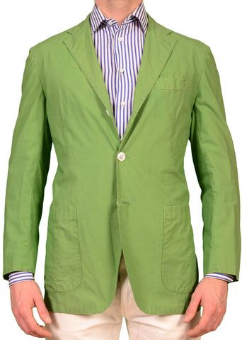 KITON Napoli Solid Green Cotton Unconstructed Blazer Jacket US L NEW EU 52 - SARTORIALE - 1