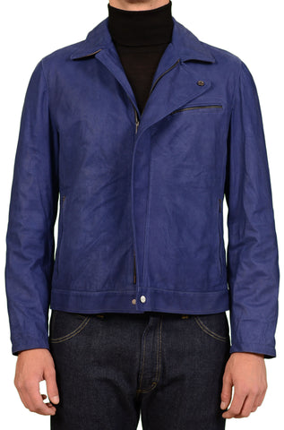 KITON Napoli Solid Navy Blue Leather Cafe Racer Jacket EU 50 NEW US 40 Sample - SARTORIALE - 1
