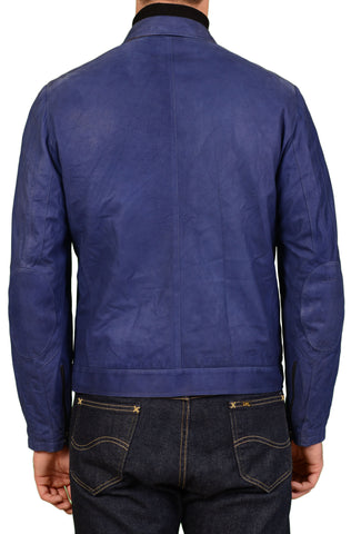 KITON Napoli Solid Navy Blue Leather Cafe Racer Jacket EU 50 NEW US 40 Sample - SARTORIALE - 4