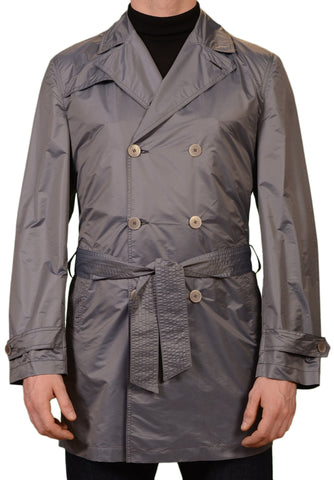 KITON Napoli Steel Blue Double Breasted Light Jacket Trench Coat EU 50 NEW US 40