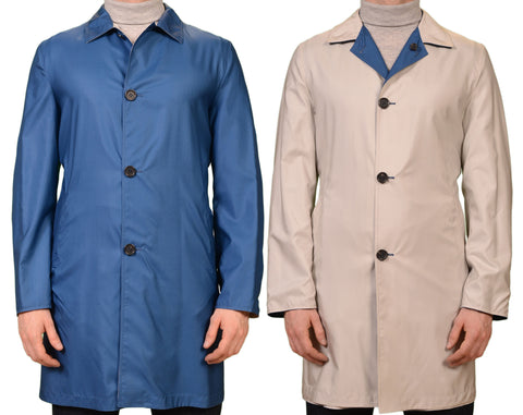 KITON Napoli Blue Off-White Silk Reversible Jacket Over Coat EU 50 NEW US 38 40