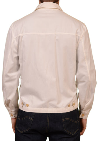 KITON Napoli Handmade White Cotton Unlined Blouson Jacket EU 50 NEW US 38 40