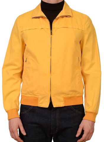 KITON Napoli Yellow Cotton Leather Details Unlined Blouson Jacket 50 NEW US 40