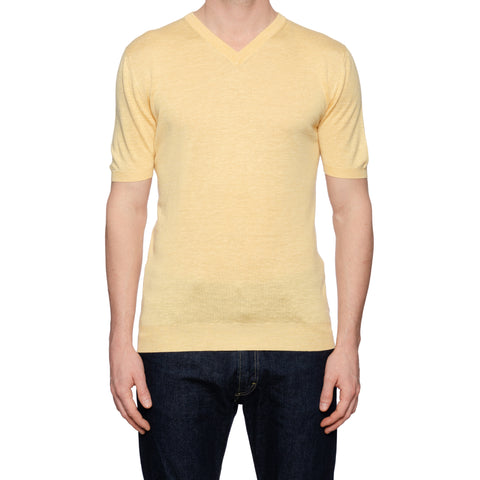 KITON Napoli Yellow Silk-Linen V-Neck Short Sleeve T-Shirt EU 50 NEW US M