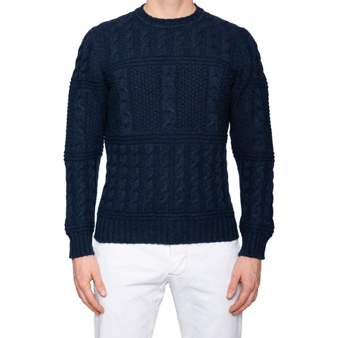 KITON Navy Blue Cashmere Cable Knit Chunky Crewneck Sweater 52 NEW US L
