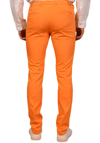KITON Orange Herringbone Cotton Pleated Slim Fit Stretch Pants 48 NEW 32 Skinny