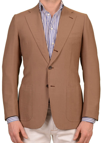 RUBINACCI LH Hand Made Bespoke Tan Wool Mohair Jacket Blazer EU 48 NEW US 38