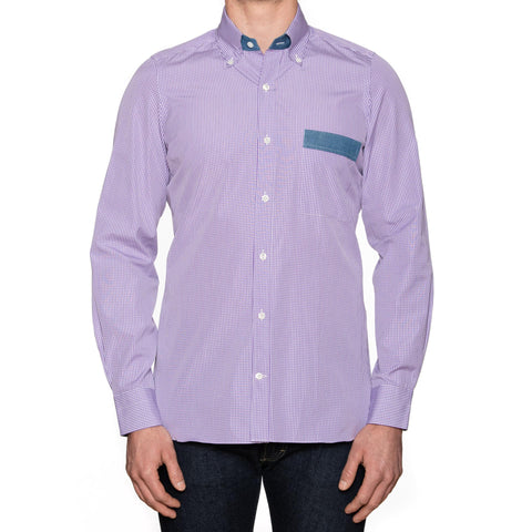 LUIGI BORRELLI Napoli Purple Checked Cotton Button-Down Shirt EU 40 NEW US 15.75