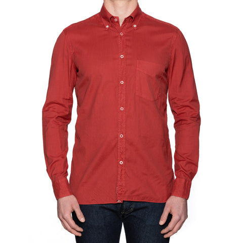 LUIGI BORRELLI Napoli Solid Crimson Broadcloth Cotton Button-Down Shirt Size M