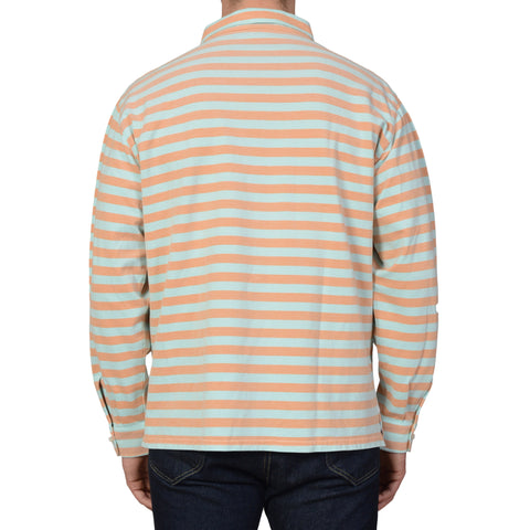 LUIGI BORRELLI Blue-Orange Striped Cotton Piquet Long Sleeve Polo Shirt NEW XL