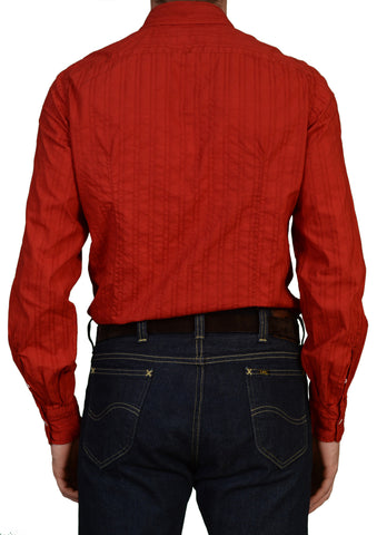 "LUIGI BORRELLI ""Luxury Vintage"" Red Cotton Garment Dyed Slim Fit Shirt L NEW US 16"