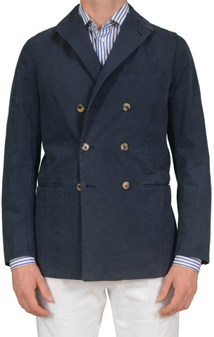 LUIGI BORRELLI Napoli Navy Blue Cotton DB Jacket with Elbow Patch EU 50 NEW US 40