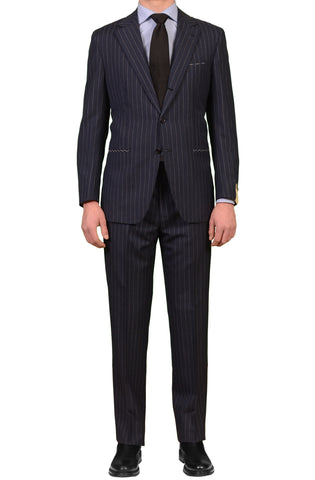 LUIGI BORRELLI Napoli Navy Blue Striped Wool Business Suit 54 NEW US 44 NERANO