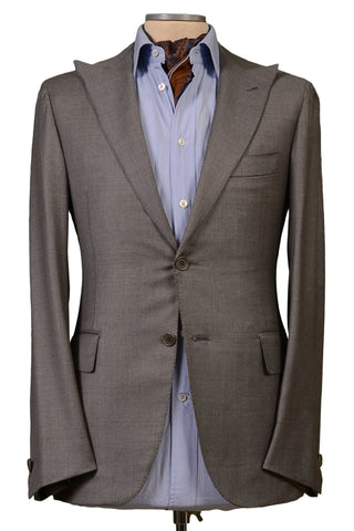 LUIGI BORRELLI Napoli Gray Wool Silk Peak Lapel Blazer Jacket EU 46 NEW US S/M