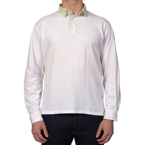 LUIGI BORRELLI Napoli White Cotton Piquet Long Sleeve Polo Shirt NEW Size XL