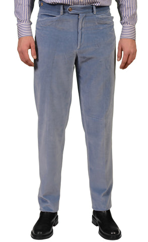 MARIANO RUBINACCI Solid Blue Velvet Cotton Casual Pants NEW Classic Fit