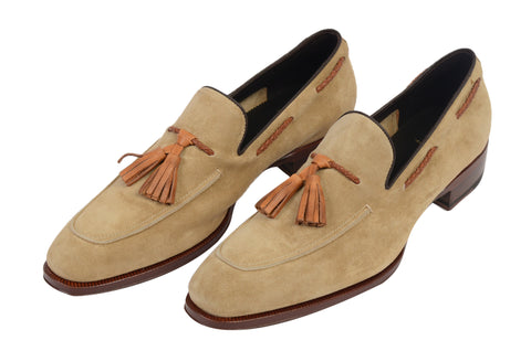 MAX VERRE Napoli Tan Suede Leather Tassel Loafers Shoes NEW with Box