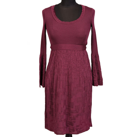 MISSONI Burgundy Merino Wool Stretch Belted Women Dress IT 38 NEW US 2