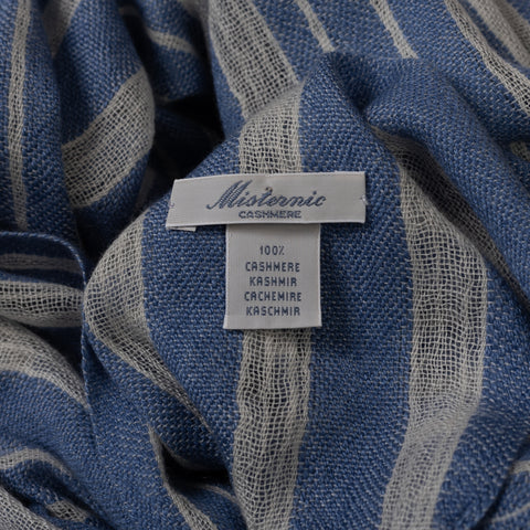 MISTERNIC Blue-White Striped Cashmere Scarf