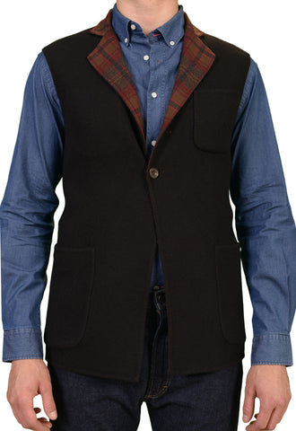 RUBINACCI Napoli Black / Red Plaid Cashmere Reversible Vest 50 NEW 40/M Slim Fit - SARTORIALE - 1