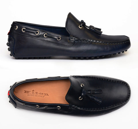 KITON NAPOLI Navy Blue Leather Tassel Loafers Driving Car Shoes Moccasins NEW - SARTORIALE - 1