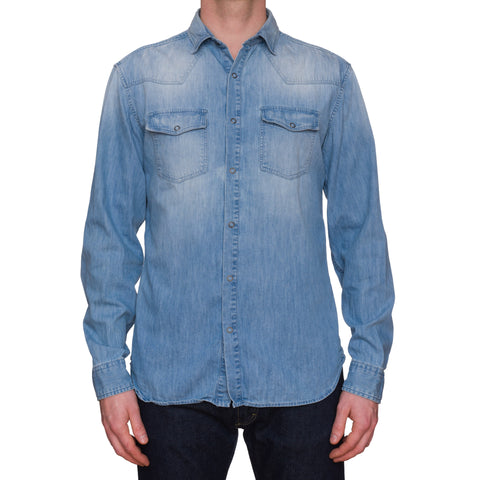 PIERRE BALMAIN Blue Denim Casual Shirt EU 50 US M