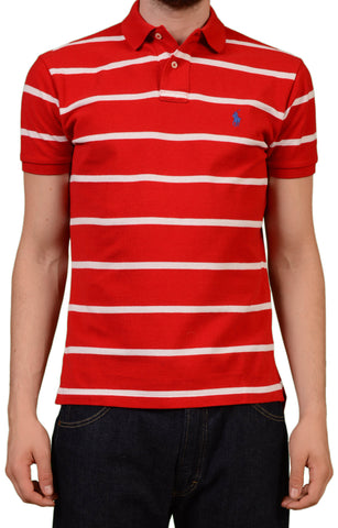 POLO By RALPH LAUREN Red Striped Cotton Custom Fit Polo Shirt EU 48 NEW US S - SARTORIALE - 1