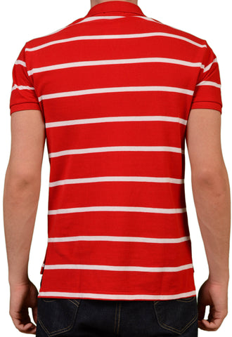 POLO By RALPH LAUREN Red Striped Cotton Custom Fit Polo Shirt EU 48 NEW US S - SARTORIALE - 2