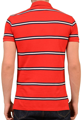 POLO By RALPH LAUREN Red Striped Cotton Polo Shirt EU 48 NEW US S Custom Fit - SARTORIALE - 2