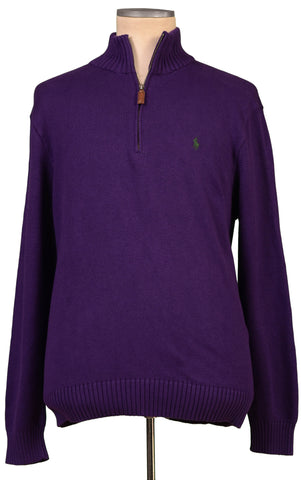 POLO By RALPH LAUREN Solid Purple Cotton Knit Zip Neck Sweater 54 NEW US XL - SARTORIALE - 1