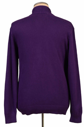 POLO By RALPH LAUREN Solid Purple Cotton Knit Zip Neck Sweater 54 NEW US XL - SARTORIALE - 2