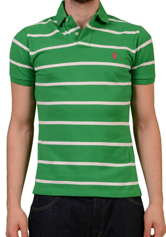 POLO By RALPH LAUREN Striped Green Cotton Polo Shirt NEW Custom Fit - SARTORIALE - 1