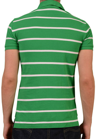 POLO By RALPH LAUREN Striped Green Cotton Polo Shirt NEW Custom Fit - SARTORIALE - 2