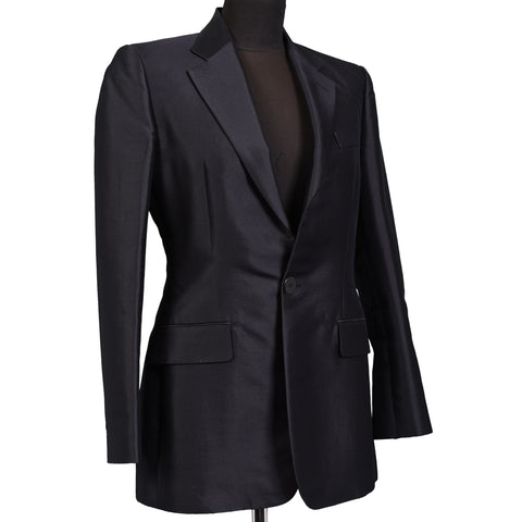 RALPH LAUREN Purple Label BERGDORF Black Wool-Silk Women Blazer US 4