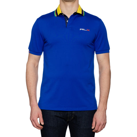 RLX RALPH LAUREN Blue Cotton Blend Pique Polo Shirt NEW US M