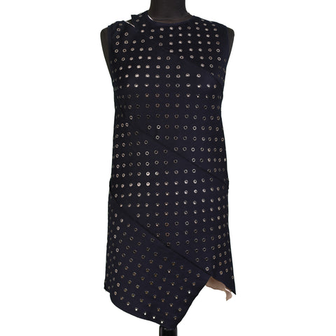 ROBERTO CAVALLI Blue Wool-Cashmere Ring Mini Dress Size IT 38 NEW US 2