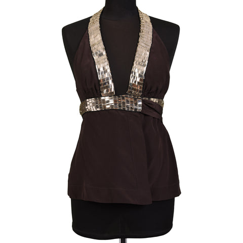 ROBERTO CAVALLI Brown Silk Sequined Halter Top Size IT 40 NEW US 4