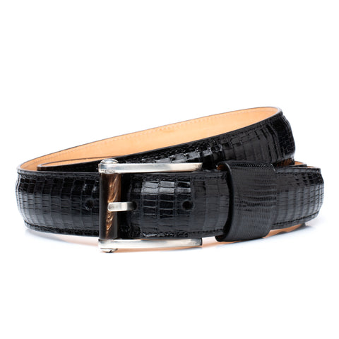 "ROMANELLI Firenze Black Croco Alligator Silver-Horn Buckle Belt 90cm 36"" NEW"