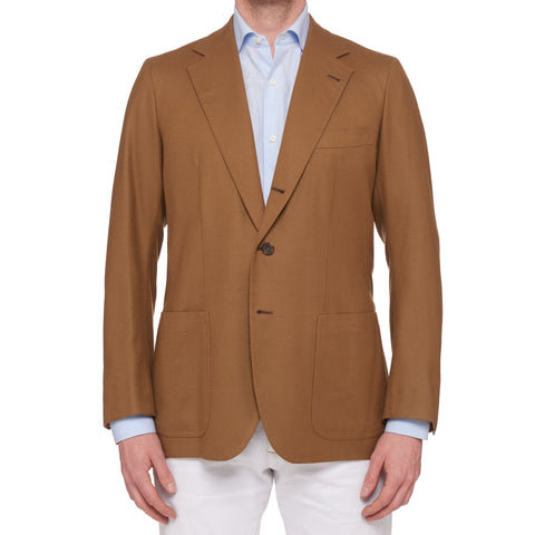 RUBINACCI LH Bespoke Hand-Stitched Khaki Wool Camelhair Jacket EU 50 NEW US 40