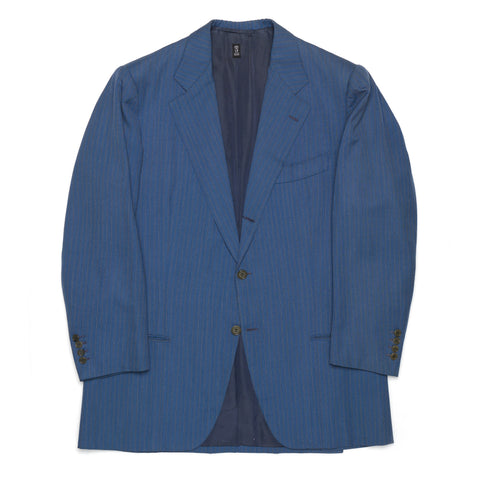 RUBINACCI LH Hand Made Bespoke Blue Striped Wool Blazer Jacket 52 US 40 42 Short