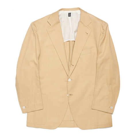 RUBINACCI LH Hand Made Bespoke Tan Cotton Blazer Jacket EU 52 NEW US 42