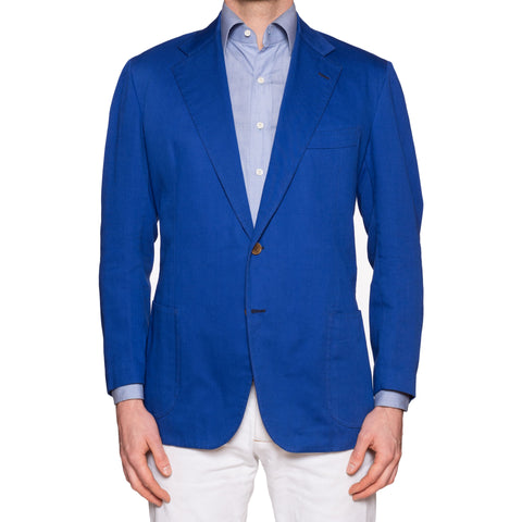 RUBINACCI LH Handmade Bespoke Royal Blue Twill Cotton Jacket EU 52 US 42